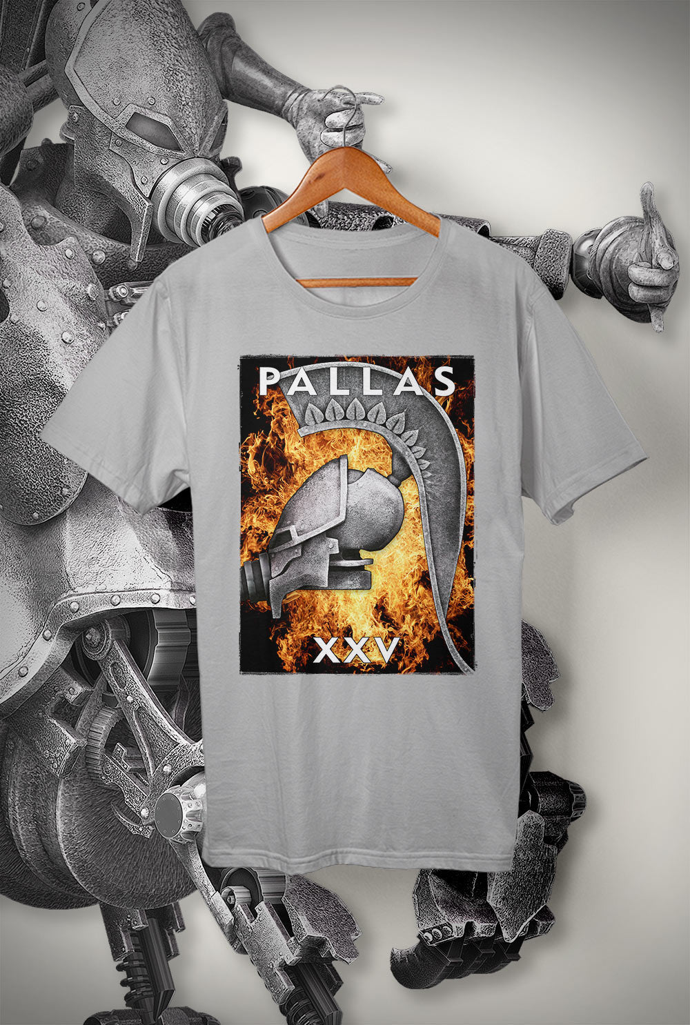 "Pallas :: XXV ""Flaming Helmet 1""<p> Unisex Gildan T Shirt In a Range of 12 colours Custom T Shirt by Lets Get Shirty Dot Com"