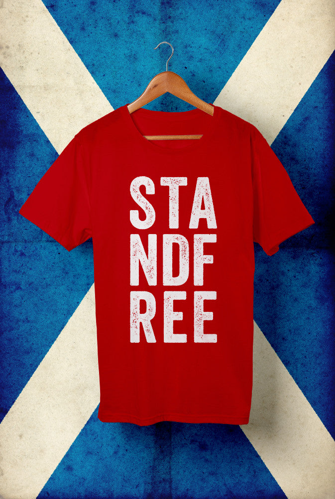 Stand Free <p> Unisex Gildan T Shirt In Red Or White Custom T Shirt by Lets Get Shirty Dot Com