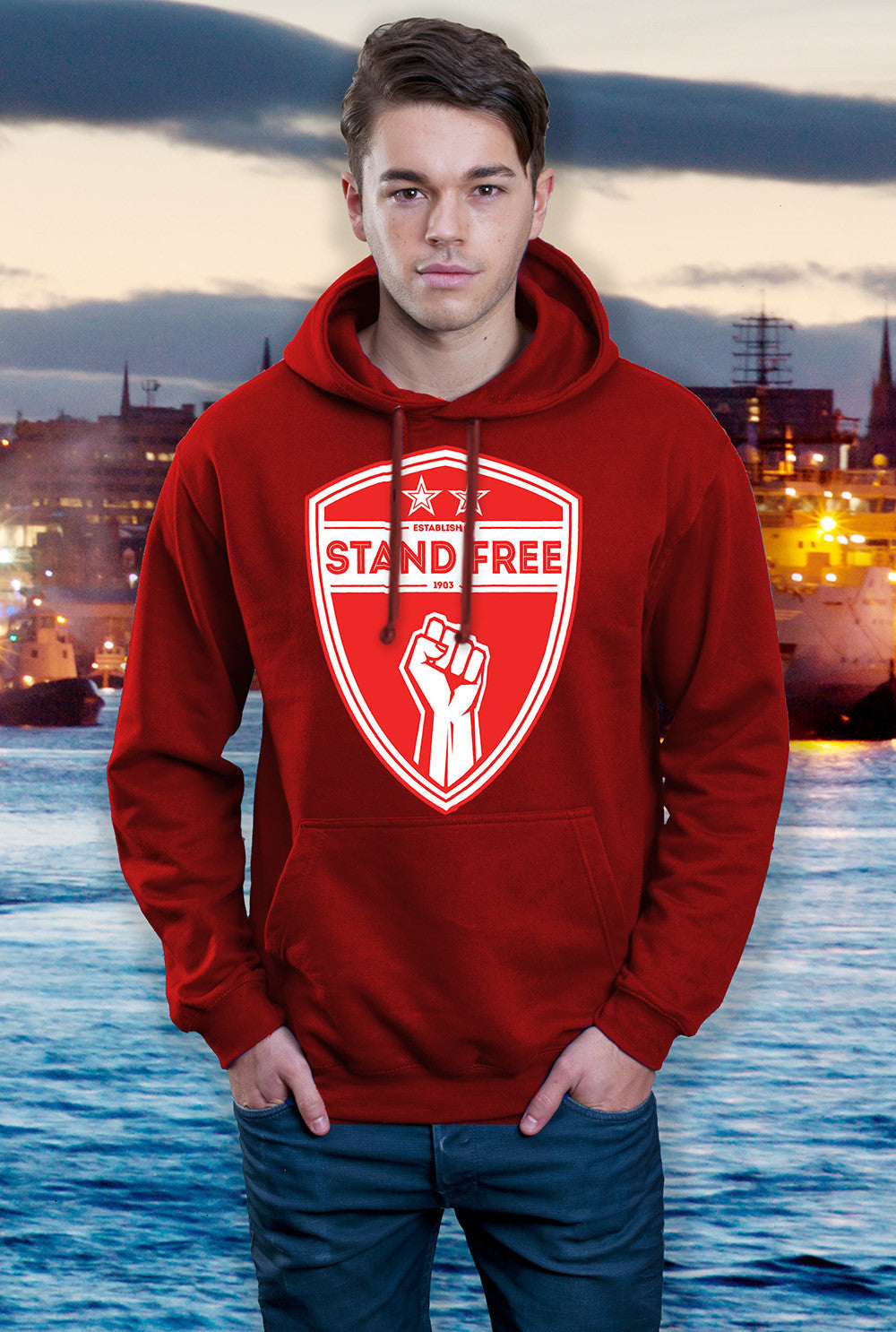 ABERDEEN RED ARMY HOODY ::  STAND FREE SHIELD <p> In Black Red or Grey Custom T Shirt by Lets Get Shirty Dot Com