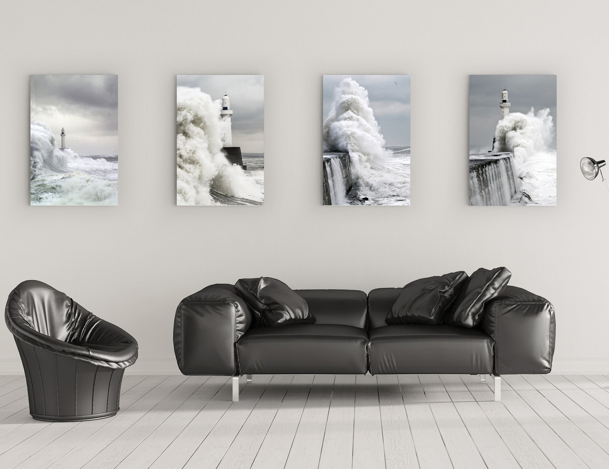 Aberdeen Leading Light in Storm Vertical Wall Canvas