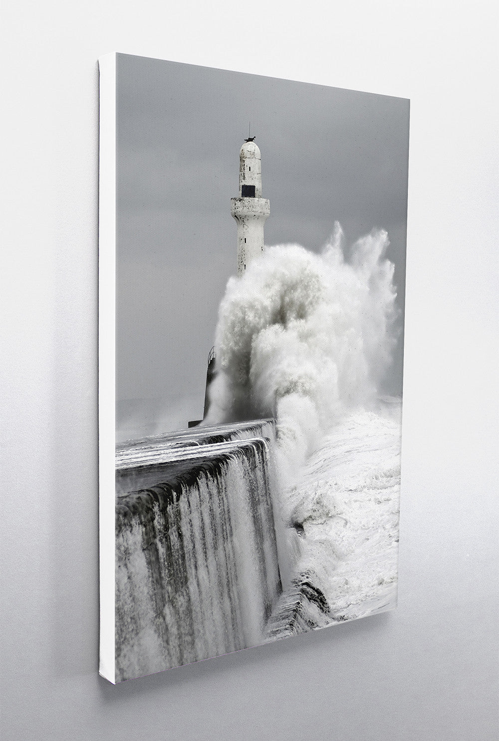 Aberdeen Leading Light in Storm 3 Vertical Wall Canvas