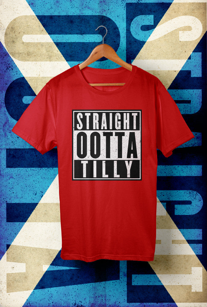 STRAIGHT OOTTA TILLY !<p> Unisex Gildan T Shirt In Red White Or Black