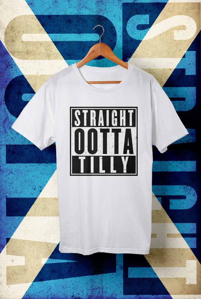 STRAIGHT OOTTA TILLY !<p> Unisex Gildan T Shirt In Red White Or Black Custom T Shirt by Lets Get Shirty Dot Com