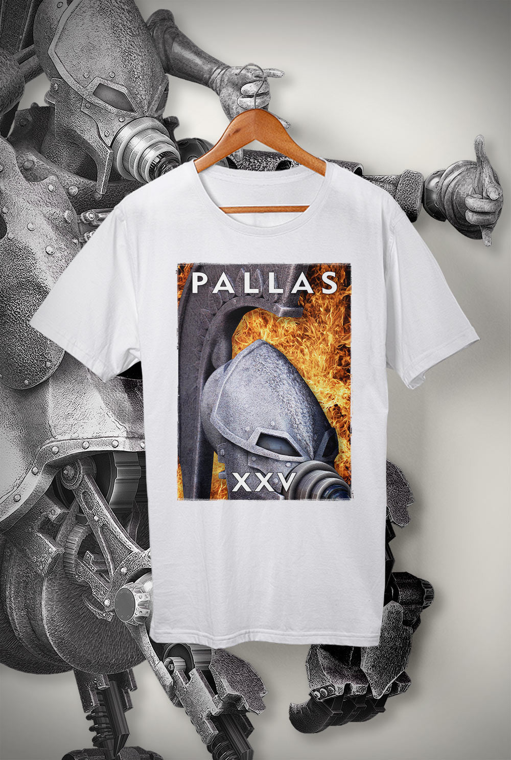 "Pallas :: XXV ""Flaming Helmet 2""<p> Unisex Gildan T Shirt In a Range of 12 colours"
