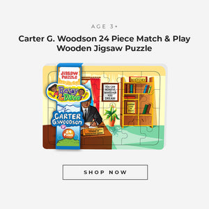Carter G. Woodson 24 piece match and play wooden jigsaw puzzle for ages 3 plus.