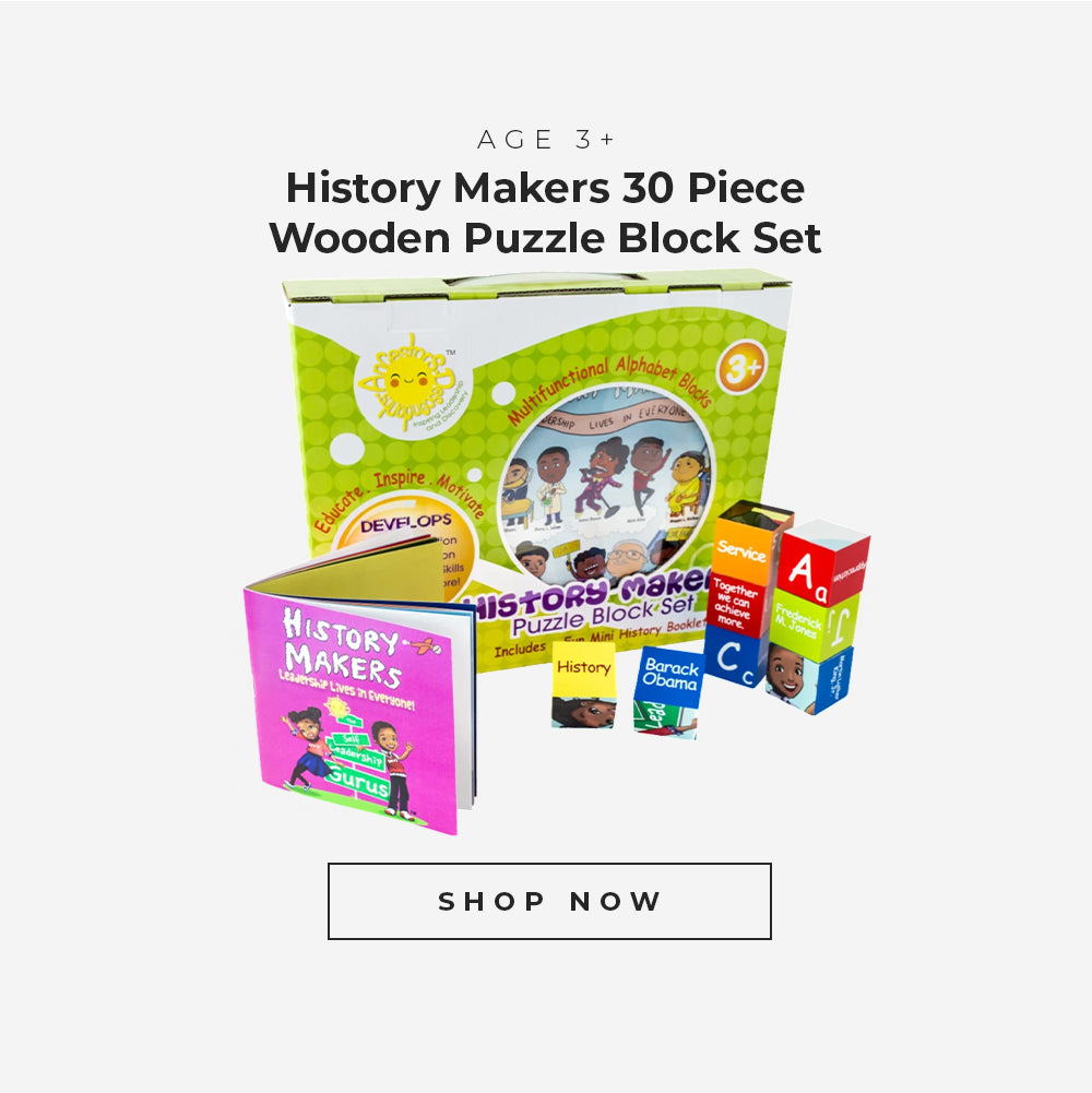 History makers 30 piece wooden puzzle block set for age 3 plus.