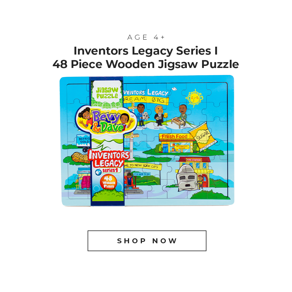 Inventors Legacy Series 1 48 piece wooden jigsaw puzzle for ages 4 plus.