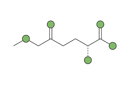 2D digital model of an L-theanine molecule from the matcha green tea plant