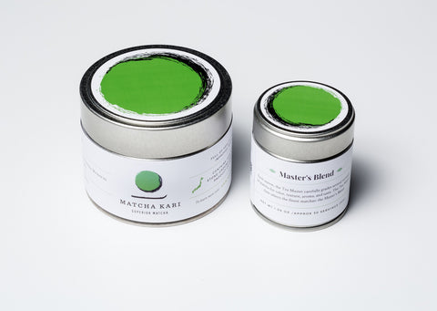 Master's Blend matcha from Matcha Kari, demonstrating the ultimate quality of green tea on a white background