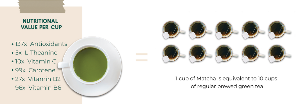 diagram showing the superior nutritional value of matcha green tea compared to regular teas