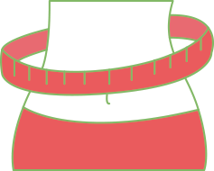 Digital drawing of thin stomach with measuring tape, red color with green lines