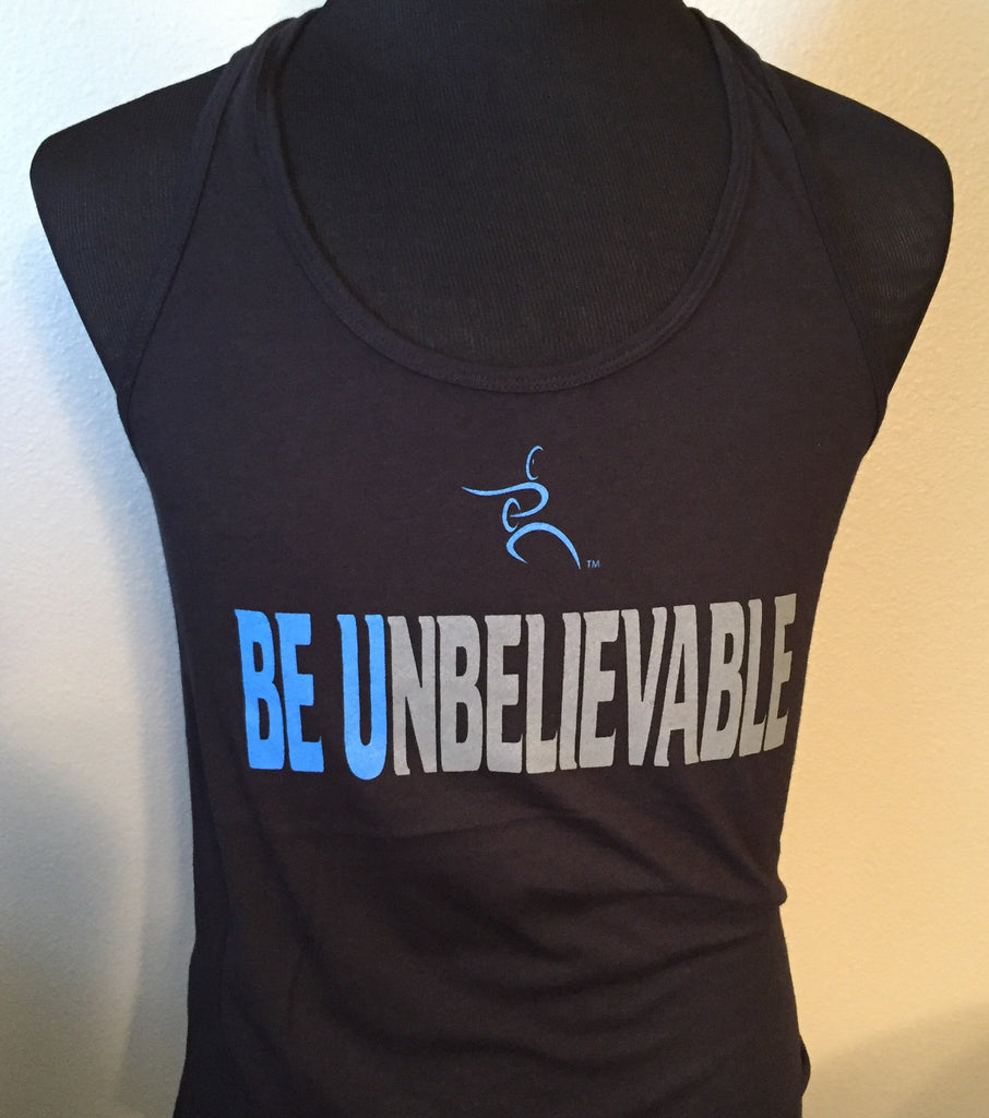Racerback Tank Top (black) - Be U Blue and silver