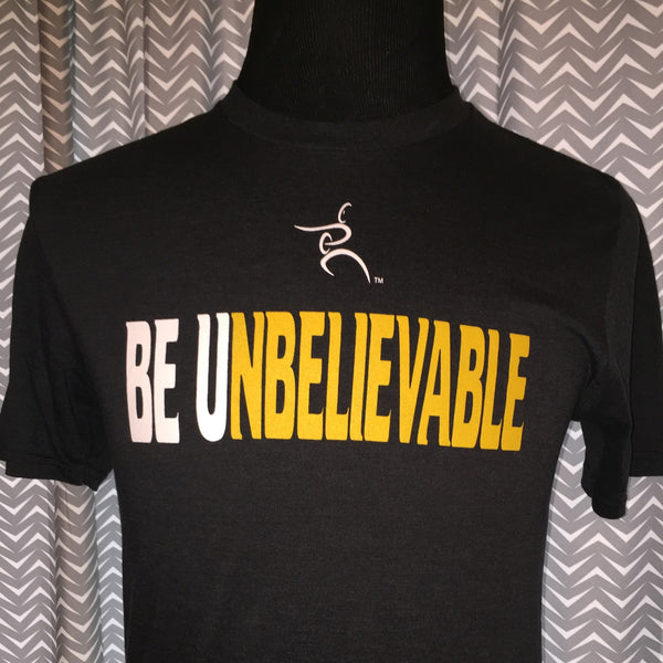 Be U Tee-Black Be U White/yellow- unisex adult sizes XS and Medium