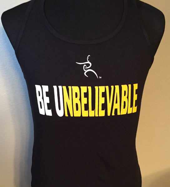 Racerback Tank Top (black)- Be U white and yellow