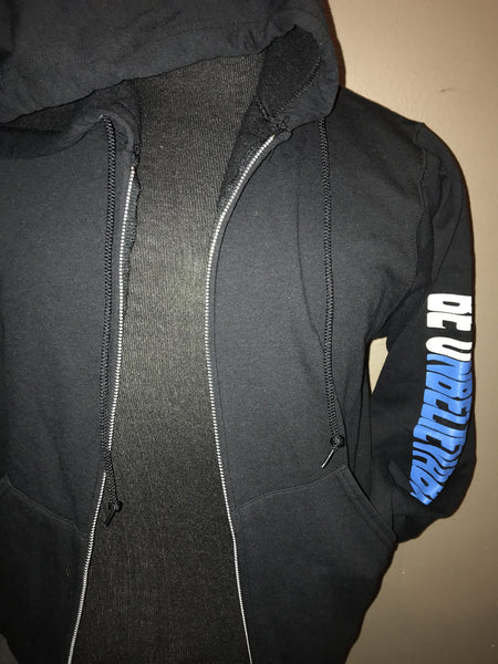Hoodie with full zip - color black - size small only