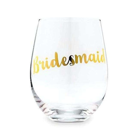 Bridesmaid Stemless Glass - Metallic Gold (Pack Of 1) - Wedding Reception Accessories