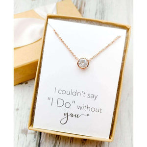 Dainty Rose Gold Solitaire Necklace