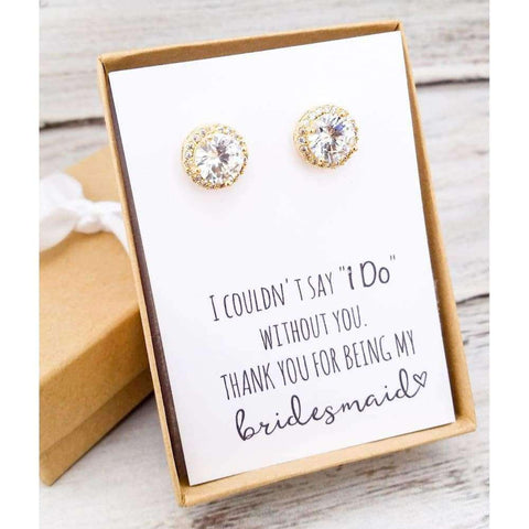 Gold Round Cz Earrings