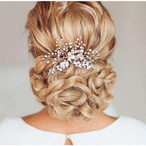 Pearl Hair Comb - Silver