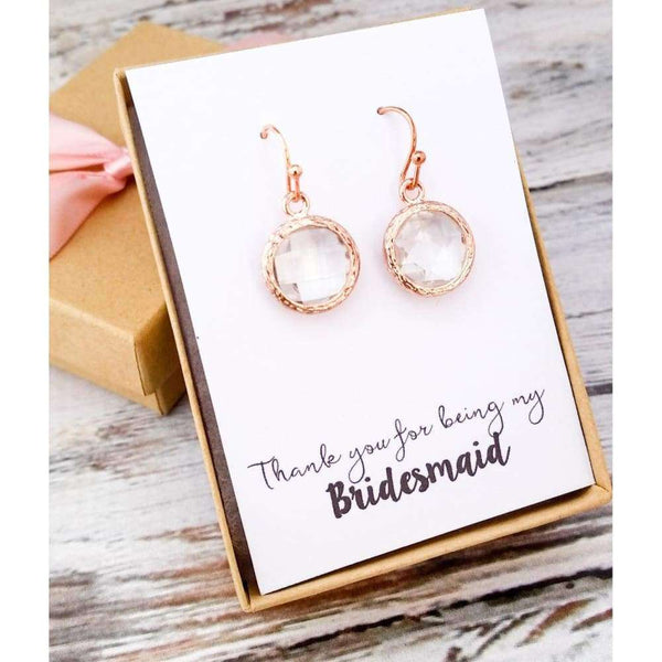 Rose Gold Clear Glass Earrings - SimpleRoute Bridal