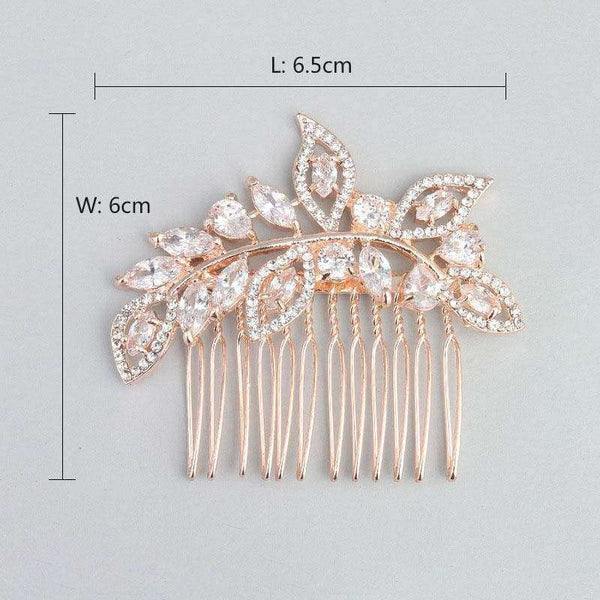 Rose Gold Hair Comb - SimpleRoute Bridal