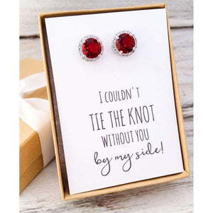 Ruby Red Cz Stud Earrings