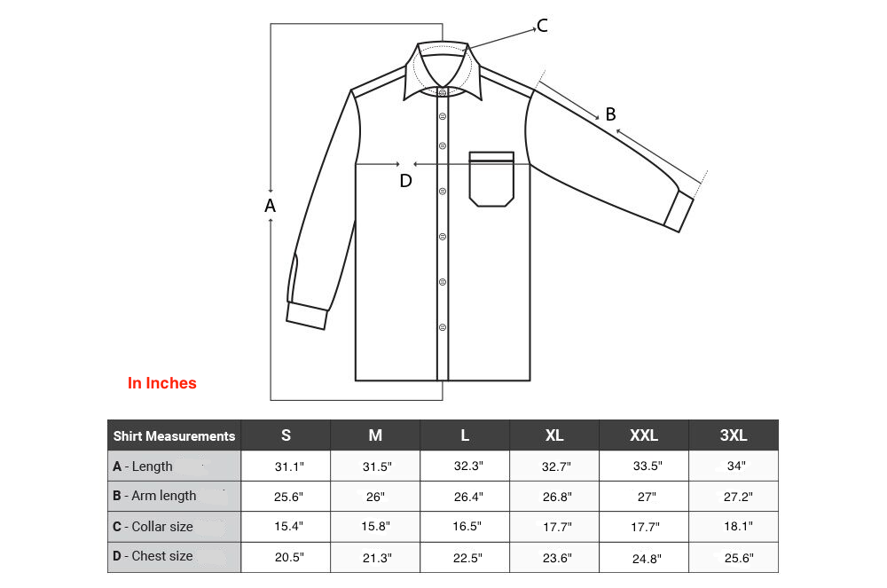 Amedeo Exclusive shirts size chart