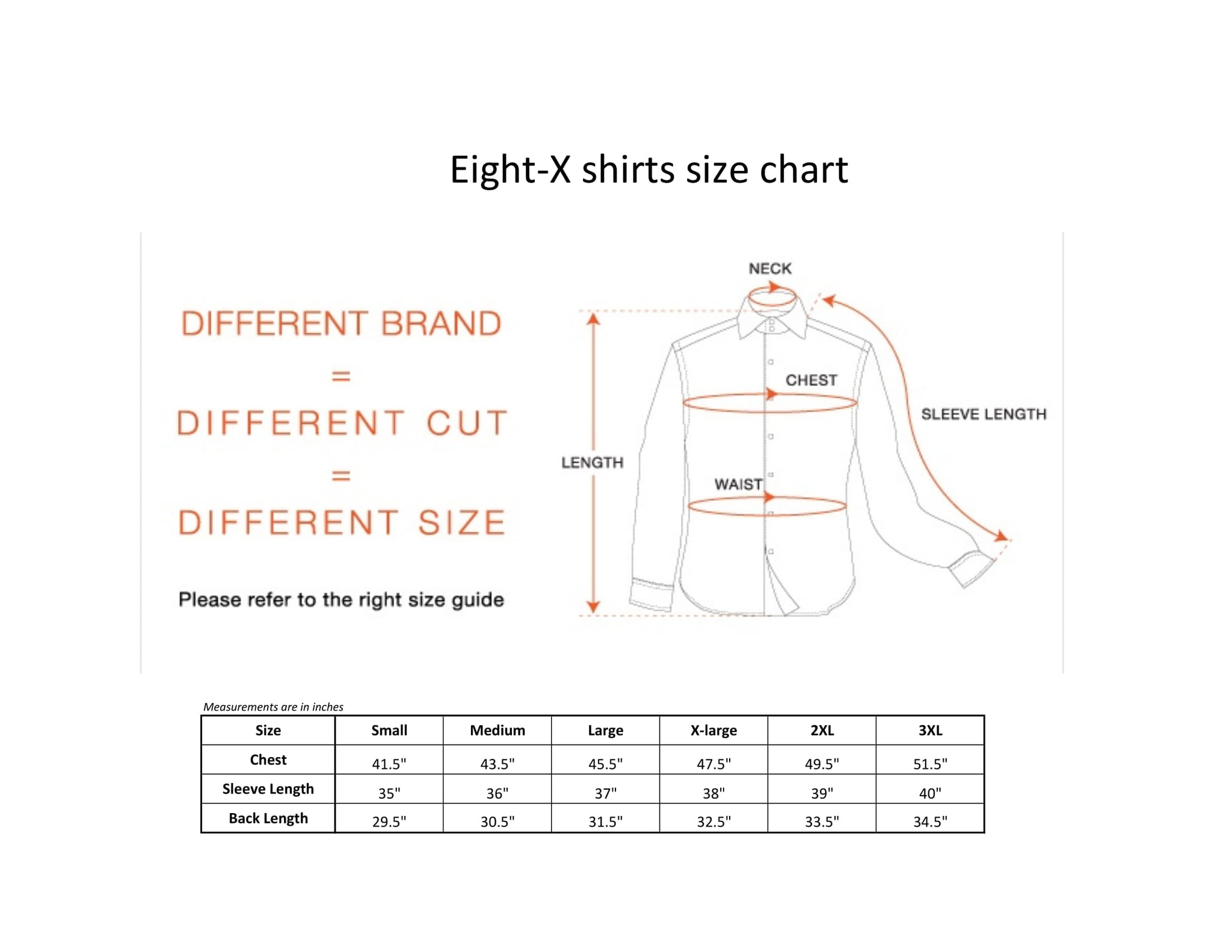 Eight-X shirt size chart