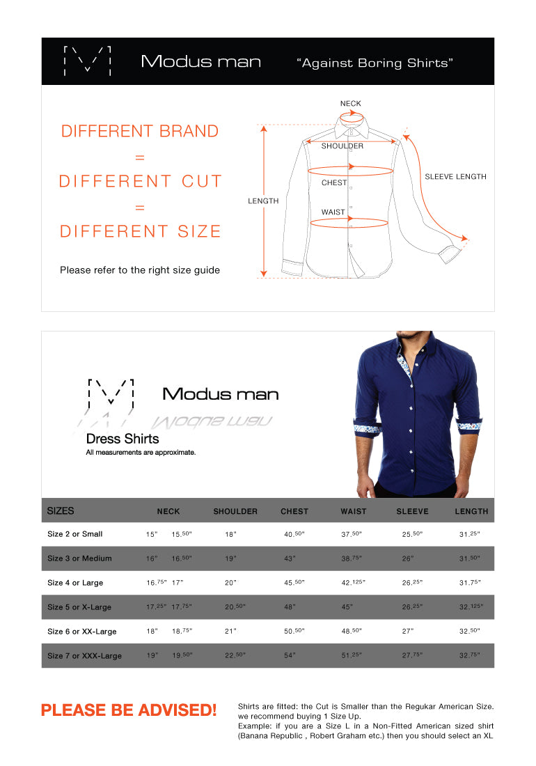 Modus man shirts size guide