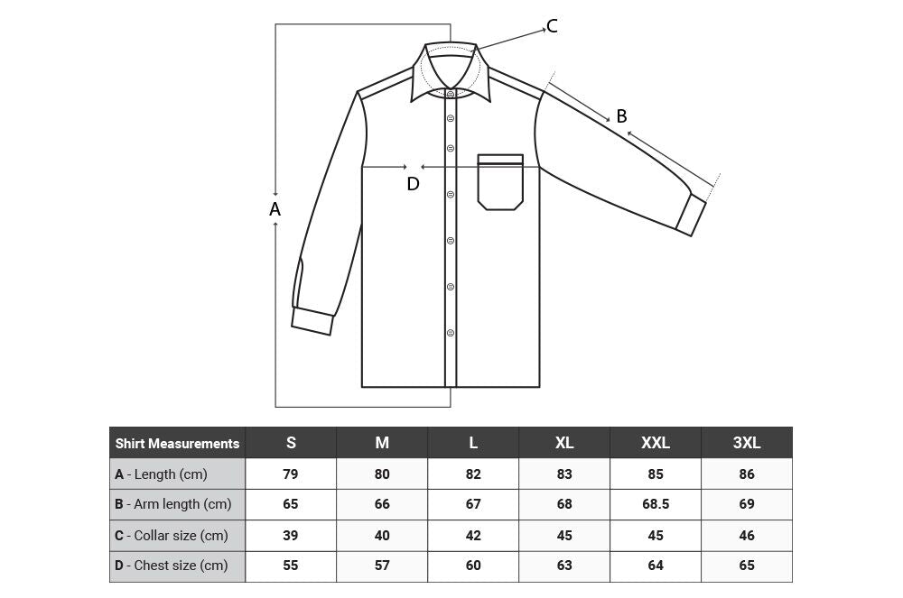 Amadeo Exclusive shirts size chart