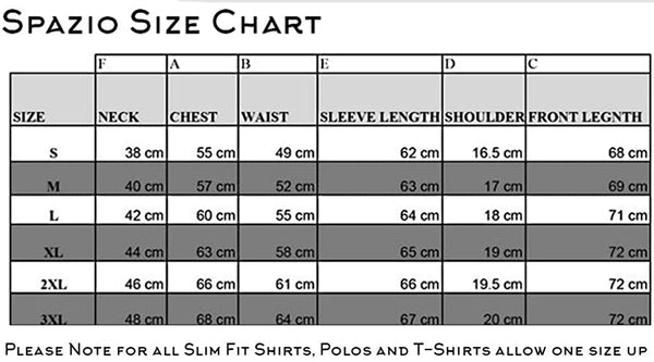 Spazio - size chart for Modern Fit shirts