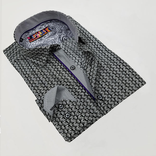 Spazio black shirt with purple piping detail on collar and front placket