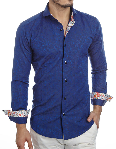 JER Square Blue cuff up mens dress shirt from Modus man