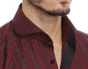 Burgundy circle collar detail mens dress shirt from Modus man