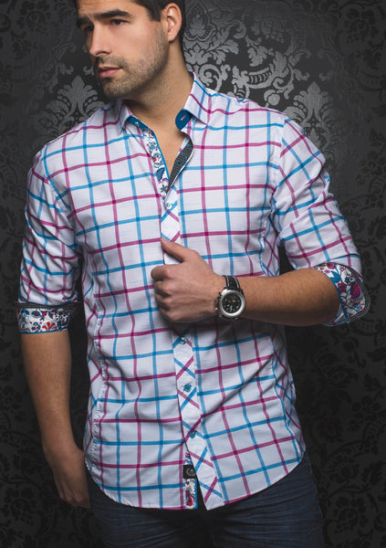 white_blue_red_plaid_long_sleeve_mens_dress_shirt_designer_Au_Noir_shirts