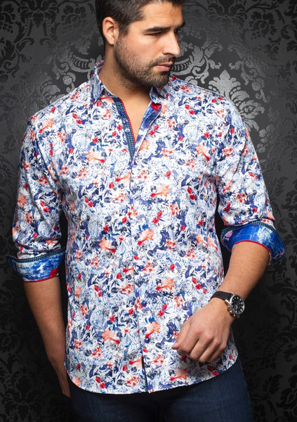 Au Noir shirts INOVA FLORAL red navy