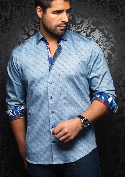 Au Noir long sleeve shirts JULIANO indigo