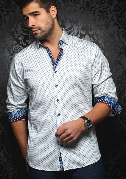 Au Noir shirts MARINO_white blue