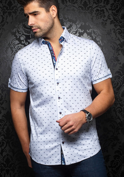 Au Noir short shirts Naxos white blue