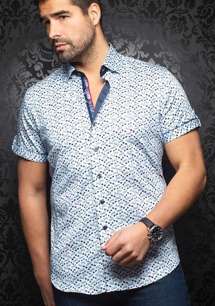 Au Noir short sleeve shirts WHISKY (SS) light blue