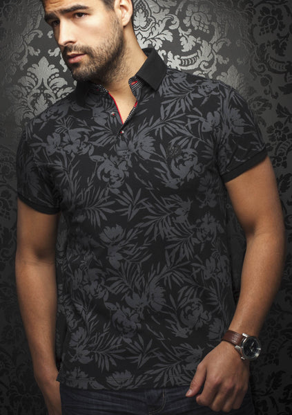 Black polo shirt with floral pattern designed by Au Noir shirts