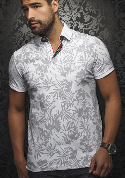 white polo shirt with floral print designed by Au Noir shirts