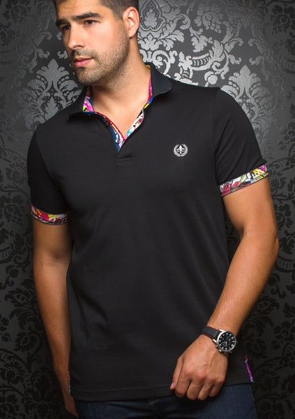 fitted black polo from Au Noir shirts