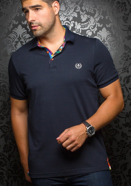 Au Noir navy polo shirt