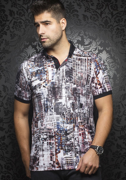 Au Noir black polo shirt with funky art