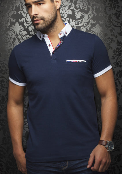 Navy blue polo shirt with white contrasting collar and cuff designed by Au Noir shirts