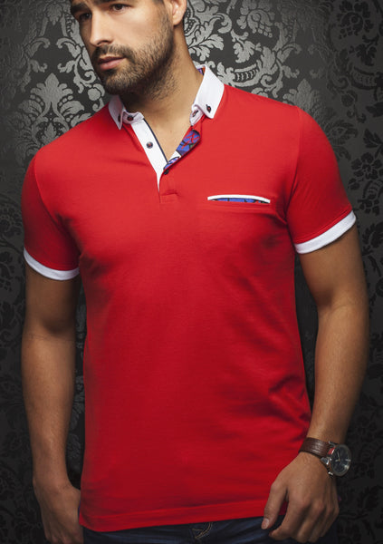 Red polo shirt with white contrasting collar and cuff designed by Au Noir shirts