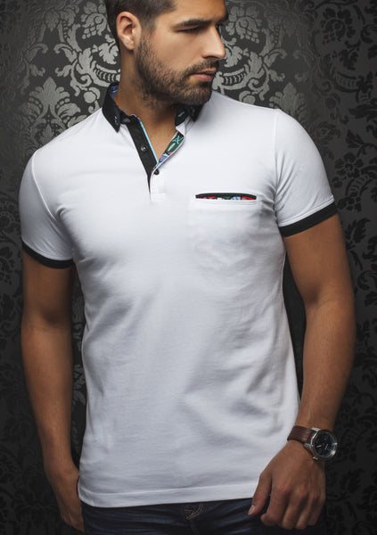 White polo shirt with black contrasting collar designed by Au Noir shirts