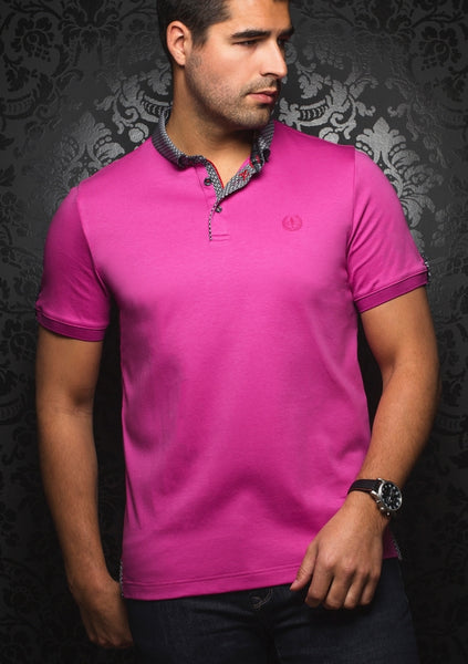 Au Noir black pink shirt with grey contrasting collar