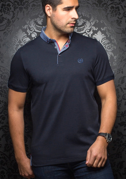 Au Noir navy polo shirt with grey contrasting collar